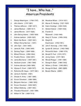 """American Presidents """"I have...Who has..."""" Class Game"""