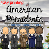 Presidents Informational Texts: Main Idea, Comprehension Questions, Facts