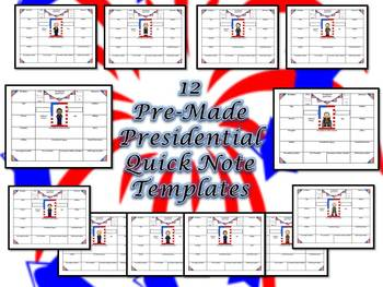 American Presidents Quick Note Graphic Organizer Research Templates