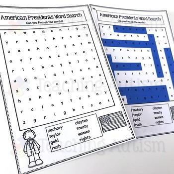 American Presidents Word Search Activity