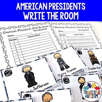 Presidents Day Write the Room American Presidents