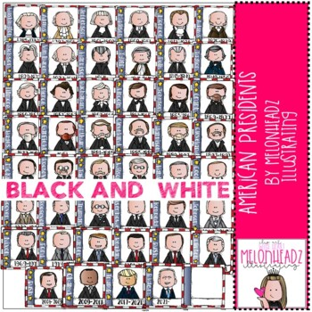 Melonheadz: American Presidents clip art - BLACK AND WHITE