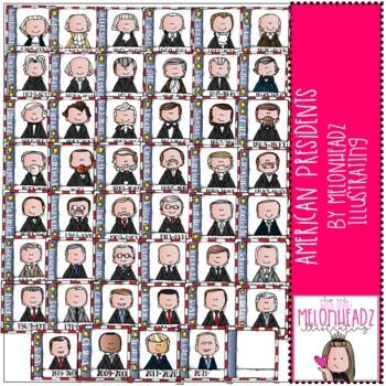 Melonheadz: American Presidents clip art - COMBO PACK
