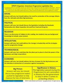American Progressive Legislation SPRITE Social Studies Graphic Organizer