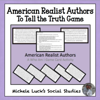 """American Realist Authors Who Am I """"To Tell the Truth"""" Game Role Cards"""