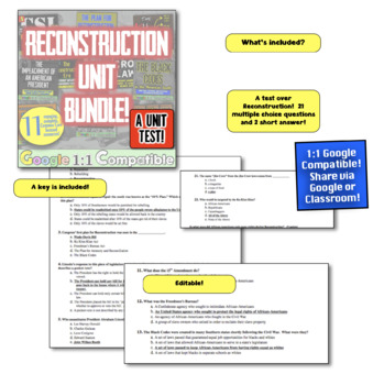 American Reconstruction Unit Test!  Assessment over Post Civil War America!