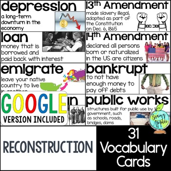 American Reconstruction Vocabulary Cards, Reconstruction Word Wall