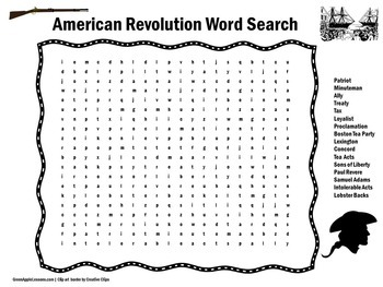 American Revolution Word Search | American Revolution Activity