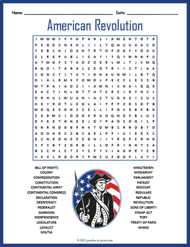 american revolution word search puzzle by puzzles to print tpt. Black Bedroom Furniture Sets. Home Design Ideas