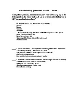 American Revolution 25 Questions Test or Quiz
