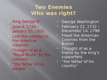 American Revolution Compare and Contrast George Washington and King George III