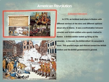 American Revolution - 4 causes, 4 figures, 4 events, 4 effects (20-slide PPT)