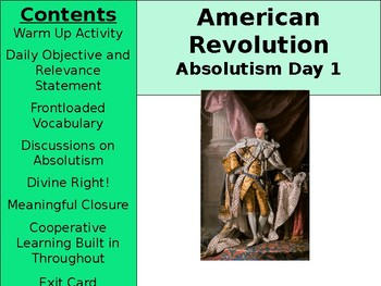 American Revolution: Absolutism Day 1