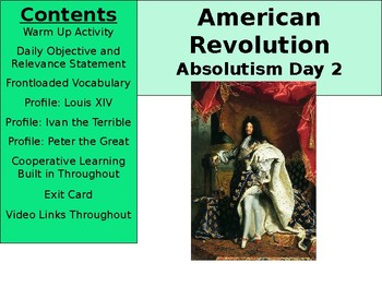 American Revolution: Absolutism Day 2