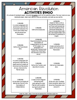 American Revolution Activities BINGO