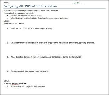 American Revolution Alternate Perspectives Analysis Worksheet