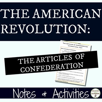 Articles of the Confederation Notes and Center Activities
