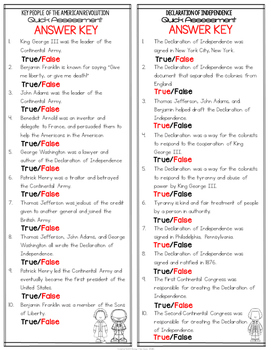 American Revolution True or False Test Quick Assessment