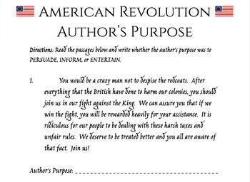 American Revolution Author's Purpose