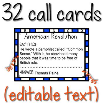 American Revolution BINGO (Editable)