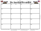 American Revolution Battle Chart Graphic Organizer