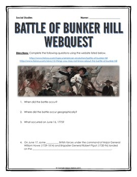 American Revolution - Battle of Bunker Hill - Webquest with Key