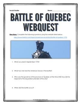 American Revolution - Battle of Quebec - Webquest with Key