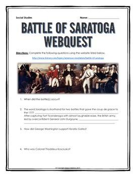 American Revolution - Battle of Saratoga - Webquest with Key