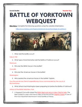 American Revolution - Battle of Yorktown - Webquest with Key