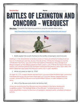 American Revolution - Battles of Lexington and Concord - Webquest with Key