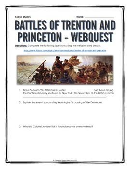 American Revolution -  Battles of Trenton and Princeton - Webquest with Key