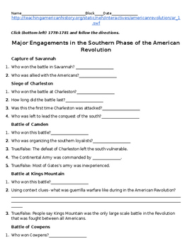 American Revolution: Battles of the Southern Phase