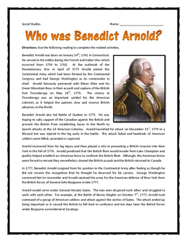 American Revolution - Benedict Arnold - Reading and Questions with Key