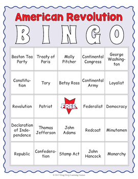 American Revolution Bingo Game