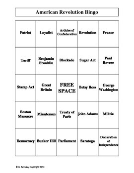 American Revolution Vocabulary Bingo (30 pre-made cards!)