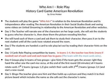 American Revolution Bingo and Role Play