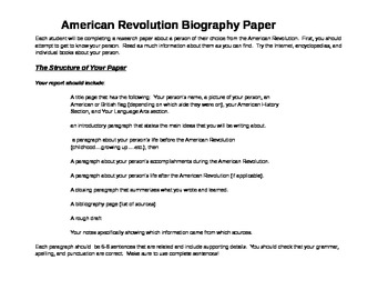 American Revolution Biography Assignment