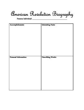 American Revolution Biography Graphic Organizer