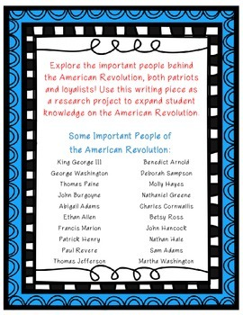 American Revolution Biography Writing Project