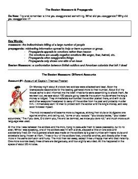American Revolution - Boston Massacre - Propaganda and Pri