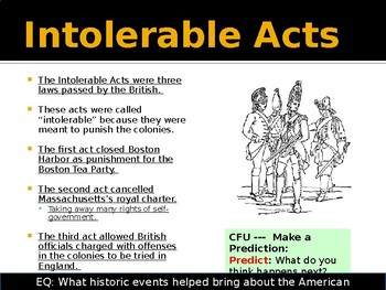 American Revolution - Boston Tea Party, Intolerable Acts, Lexington and Concord