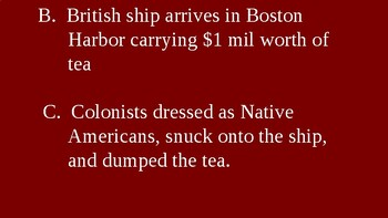 American Revolution - Boston Tea Party - PowerPoint