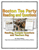 American Revolution (Boston Tea Party) - Reading and Questions with Key
