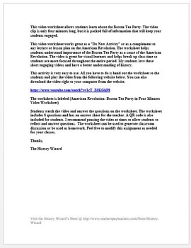 American Revolution: Boston Tea Party in Four Minutes Video Worksheet