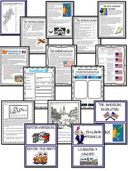 American Revolution Bundle- Reading Comprehensions, Project, Test, DBQ