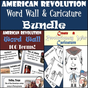 American Revolution Bundle - Word Wall with 100 Terms & Cr