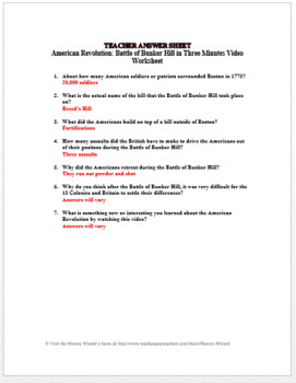 American Revolution: Bunker Hill in Three Minutes Video Worksheet