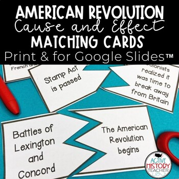 American Revolution Cause and Effect Matching.Sorting Cards