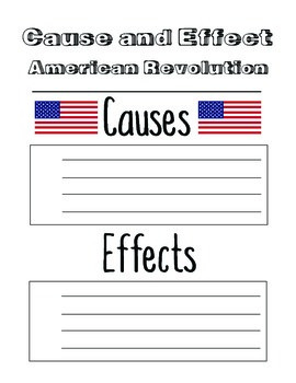American Revolution Cause and Effect Worksheet