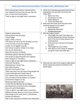 American Revolution: Causes Activity Worksheet Common Core Aligned